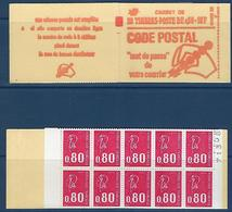 """FR Carnet YT 1816-C5 """" 20 BEQUET 80c. Rouge GT SS """" 1974 Ouvert - Usage Courant"""