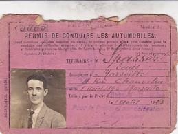 PERMIS DE CONDUIRE LES AUTOMOBILES DÉLIVRÉ EN 1923 PRÉFECTURE BOUCHES DU RHONE - Transportation Tickets