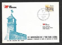 Portugal 15 Ans Premier Vol TAP Faro Algarve Lisbonne 1980 Faro Lisbon 15 Years First Flight - Poste Aérienne