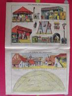 Découpage Diorama à Construire. La Fête Au Village. Manège Lutteurs Train Foire. Vers 1930 - Collections