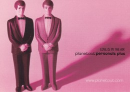 'Planetout' Gay Lesbian Personal Ad Website Advertisement, Gay Marriage Theme C2000s Vintage Max Rack Postcard - Advertising