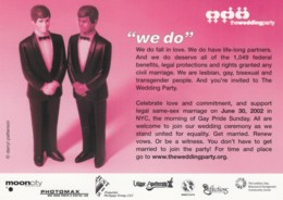 'Wedding Party' Gay Lesbian Marriage Theme Event With Gay Pride Day New York City, C2000s Vintage Max Rack Postcard - Other