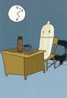 'Condoms Work All Night' World AIDS Day Cartoon Advertisement, C1990s Vintage Hot Stamp Rack Postcard - Health