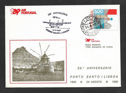Portugal 20 Ans Premier Vol TAP Porto Santo Madeira Lisbonne 1980 Porto Santo Lisbon 20 Years First Flight - Poste Aérienne