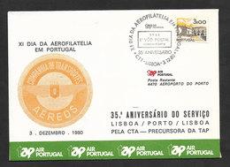 Portugal 35 Ans Premier Vol Postale Lisbonne Porto Par CTA Précurseur TAP 1980 Lisbon Oporto 35 Years Postal Flight - Poste Aérienne