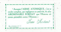 Autocollant , Politique , Accepter L'ARME ATOMIQUE.....ABOMINABLE FORFAIT..... JEAN ROSTAND,175 X 95 Mm - Aufkleber