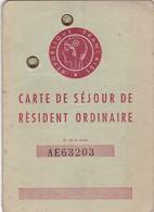 ALGERIE 1955 / CARTE DE SEJOUR DE RESIDENT ORDINAIRE / TIMBRES FISCAUX /  ALGERIE RARE - Documentos Históricos