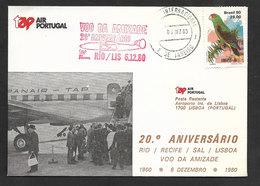 Portugal 20 Ans Premier Vol TAP Lisbonne Sal Recife Rio Brèsil Brasil 1980 Lisbon Rio Brazil 20 Years Flight - Poste Aérienne