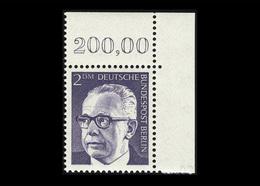 Berlin 1971, Michel-Nr. 370, Freimarken Bundespräsident Dr. Gustav Heinemann, 200 Pf., Eckrand Oben Rechts, Postfrisch - Ungebraucht