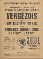 Affiche 22 X 31 Cm Course Camarguaise Arenes De Beaucaire,tauraux Cocardiers De La Manade Blatiere ,vergezois,cocardes - Posters
