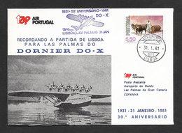 Portugal TAP 50 Ans Premier Vol Dornier DO-X Lisbonne Las Palmas Canarias Espagne España 1981 Lisbon Canary Spain Flight - Poste Aérienne
