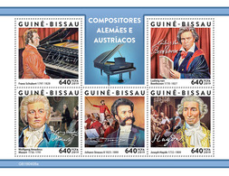GUINEA BISSAU 2019 -  Schubert, Van Beethoven, Mozart, J. Strauss II, Haydn. Official Issue - Musique