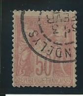 FRANCE: Obl., N° YT 98a, Rose Pale, T.II, TB - 1876-1898 Sage (Type II)