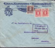 Argentina CASA ZAMBONI - EMILIO REY, Tms. Cds. ROSARIO 1927 Cover Letra HAMBURG Germany General San Martin - Argentinien
