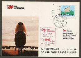 Portugal 10 Ans Premier Vol TAP Lisbonne Johannesburg Afrique Du Sud 1982 First Flight 10 Y. Lisbon South Africa - Poste Aérienne