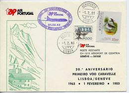 Portugal 20 Premier Vol TAP Lisbonne Genève Suisse Caravelle 1963 First Flight Lisbon Switzerland - Poste Aérienne