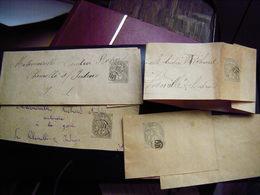 .Entier Postal Type Blanc 1c Gris Sur Bande Pour Journaux Pour Chemillé Sur Indrois Indre Et Loire X 4 Cachet OR - Entiers Postaux