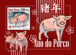GUINEA BISSAU 2019 - Year Of The Pig S/S. Official Issue - Astrology