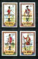"""4683 - ST.KITTS - Mi. 62-65 """"Specimen"""" Postfrisch (Uniformen Infanterie) - Mnh - St.Kitts Und Nevis ( 1983-...)"""
