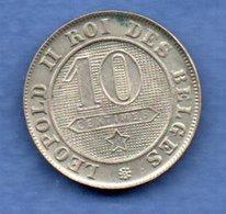 Belgique  -  10 Centimes 1894 -  Km # 42  - état  SUP  -  Rare En L état - 1865-1909: Leopold II