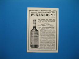 (1927) Vin Tonique WINENERGYL - Laboratoire BARRUÉ - Rue De Metz à Toulouse --- Pharmacie MANSIER à Gannat (Allier) - Non Classés