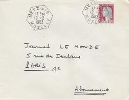 POSTE AIR. LETTRE . CACHET PERLÉ HEXAGONAL. METZ AIR MOSELLE  /  2 - 1961-....