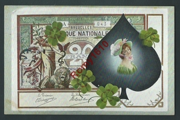 Très Rare Série De 4 Lithographies. Billets De Banque, Jeu De Cartes, Carte à Jouer.  20, 50, 100, 1000 Francs.  8 Scans - Coins (pictures)