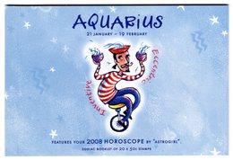 Australia 2008 Prestige Booklet Zodiac Aquarius Sterrenbeeld Waterman - Astrology