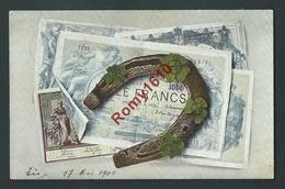 Litho Billet De Banque Porte Bonheur. 1000 Francs. Fer à Cheval, Trèfles. Circulé En 1900. Série 965.  2 Scans. - Coins (pictures)