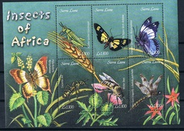 Bloc Sheet Insectes Papillons Insects Butterflies  Neuf  MNH **  Sierra Leone - Insectes