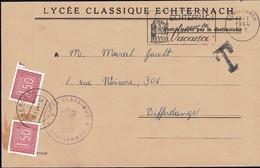 Lettre Taxe 1946, Lycée Classique Echternach, Cachet Obercorn, Michel: 2x31 - Luxembourg