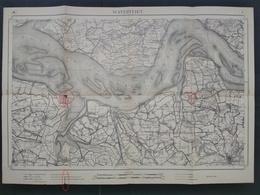 Topografische En Militaire Kaart STAFKAART 1914 WW1 WWI Watervliet Zeeland Terneuzen Kloosterzande Sluiskil Hulst Waarde - Cartes Topographiques