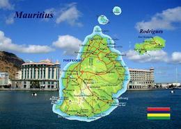 Mauritius Country Map New Postcard Landkarte Maurice - Mauritius