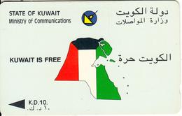 KUWAIT(GPT) - Kuwait Is Free & Map, First GPT Issue KD 10, CN : 2KWTA/B(normal 0), Used - Kuwait