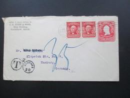 USA 1905 GA Umschlag Mit 2 Zusatzfrankaturen Saginaw Michigan - Hamburg Mit Nachporto Stempel T 20 Centimes - Briefe U. Dokumente