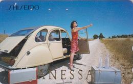 Télécarte Japon / 110-016 - VOITURE FRANCE - 2 CV 2 C V CITROEN & Femme * SHISEIDO * - CAR & Girl Japan Phonecard - 3305 - Voitures