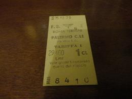 BIGLIETTO TRENO ROMA TERMINI-PALERMO-PRIMA CLASSE-1979 - Railway