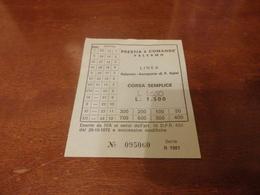 BIGLIETTO AUTOBUS PRESTIA E COMANDE' LINEA PALERMO-AEROPORTO PUNTA RAISI 2° SERIE-1981 - Busse