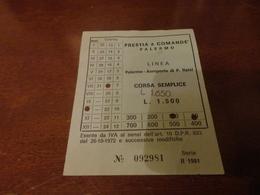 BIGLIETTO AUTOBUS PRESTIA E COMANDE' LINEA PALERMO-AEROPORTO PUNTA RAISI-2° SERIE 1981 - Bus