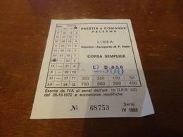 BIGLIETTO AUTOBUS PRESTIA E COMANDE' LINEA PALERMO-AEROPORTO PUNTA RAISI-3° SERIE 1983 - Busse