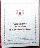 MONTE CARLO MAGNIFIQUE MENU ILLUSTRE DORE ET GAUFRE  DU CLUB ALLEMAND INTERNATIONAL 1975 TRES BON ETAT - Programmes