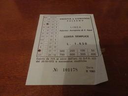 BIGLIETTO AUTOBUS PRESTIA E COMANDE' LINEA PALERMO-AEROPORTO PUNTA RAISI-2° SERIE 1981 - Europa