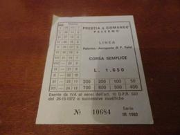 BIGLIETTO AUTOBUS PRESTIA E COMANDE' LINEA PALERMO-AEROPORTO PUNTA RAISI-3° SERIE 1982 - Busse