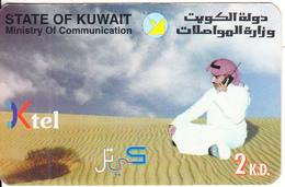 KUWAIT - Man On Phone In The Desert, Ktel Prepaid Card 2 K.D., Used - Kuwait