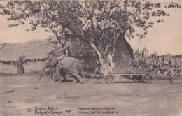 236853Congo Belge, Eléphants Trainant Un Chariot (voir Coins) - Congo Belga - Otros