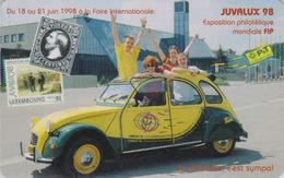 Télécarte à Puce Luxembourg - VOITURE FRANCE - 2 CV 2 C V CITROEN & Timbre - CAR & Stamp Chip Phonecard  - 3306 - Voitures