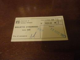 BIGLIETTO INGRESSO STAZIONE ROMA TERMINI - LIRE 300/ 500 LIRE- 1983 - Railway