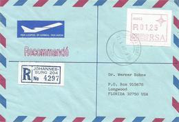 South Africa RSA 1987 Johannesburg Meter P003 ATM EMA FRAMA Registered Cover - Frankeervignetten (Frama)