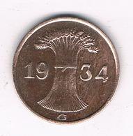 1  PFENNIG 1934 G  DUITSLAND /4067/ - [ 4] 1933-1945 : Troisième Reich