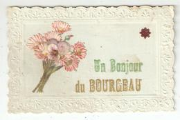 """CPA  41 Selles Sur Cher LE BOURGEAU - """" Un Bonjour Du Bourgeau """" Bordures  Gaufrées, Ajoutis De Fleurs - Selles Sur Cher"""